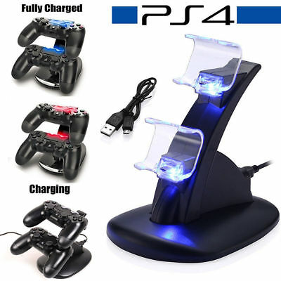For PlayStation 4 PS4 LED Charger Dock Station Dual Controller USB Fast Charging