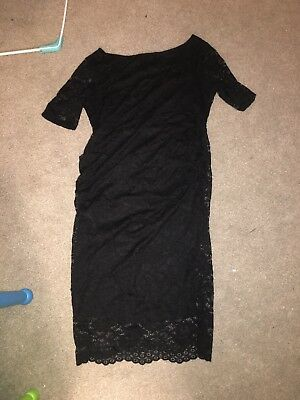 ASOS Black Lace Maternity Dress Size 16