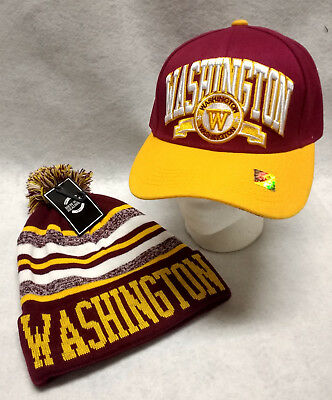 """Washington Redskins Team Color """"DOUBLEHEADER""""  Hat and Beanie Combo Gift Set"""