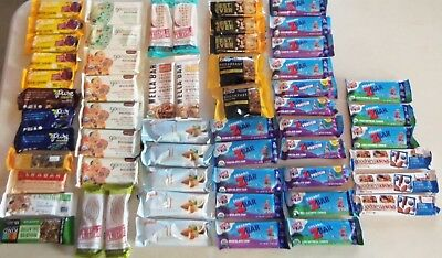 Variety Lot of 57 Energy Protein Snack Bars, Pure, Kashi, OneBar, CLIF Z Bar ++