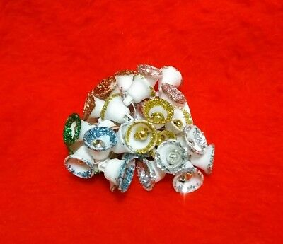 36 Mini Vintage Sugar Bells 6 colors Mercury Glass Japan 1/2""
