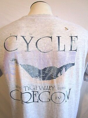 VIntage 1991 Cycle Oregon Distressed Gray Mens T Shirt Size XL