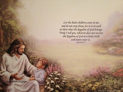 Scripture Art Print-Bible Verse-Christ with Boy-Luke 18:15-17-New Quantity 1