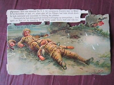 World War I British Army Rare Set Of 4 Antique Diecut War Scene Cards, Nice