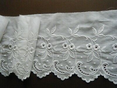 Antique VOILE Trim  Hand Embo/red combo techniques white on white France dolls