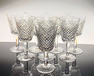 Waterford Crystal Wine Glass Alana Cut **Set of 8 Great**Condition**7 inches**
