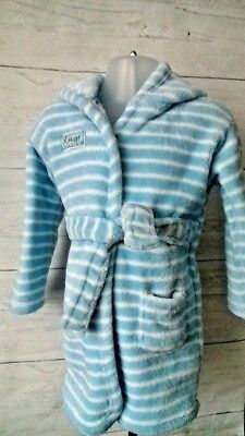 Baby Dressing Gown Robe 12-18 months Blue White Stripe