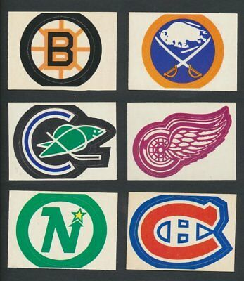 1971-72 OPC Team Crest Inserts  Lot of 9  Great Condition  Vintage NHL Hockey