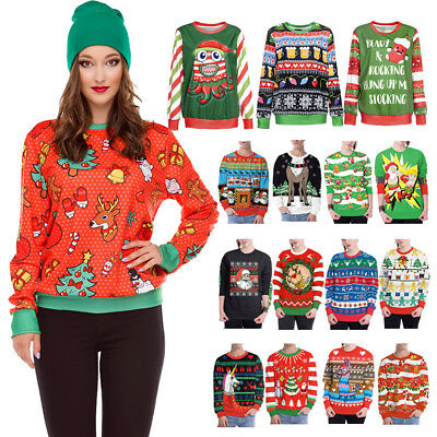 Women Men Ugly Christmas Sweater Funny Design Pullover Sweatshirt Xmas gift Tops