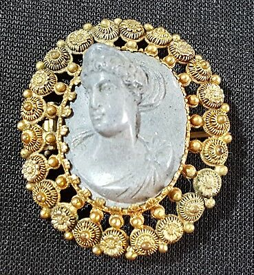 18 carat solid gold & blue lava stone vintage Victorian antique cameo brooch