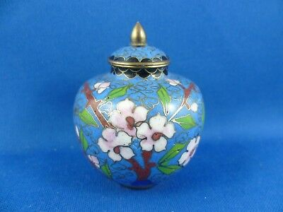 sooo cute Vintage Chinese Miniature Brass Enamel Cloisonne Lidded Pot 6.5cm high