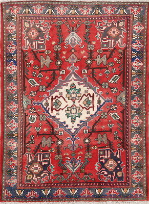 5x7 Maroon Geometric Wool Bakhtiari Oriental Hand-Knotted Semi-Antique Area Rug