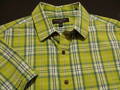 Banana Republic Mens Small Short Sleeve Button-Front Green Plaid Check Shirt