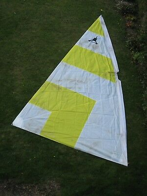 Yellow and white catamaran or dinghy mainsail by Jack Holt