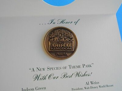 1998 Disney Wdw Animal Kingdom Opening Day Coin Medallion Cast Mmbr Bronze Coin