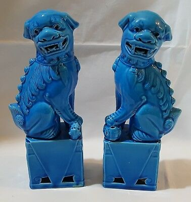 Chinese blue glaze vintage Victorian antique pair of dogs of fo figurines