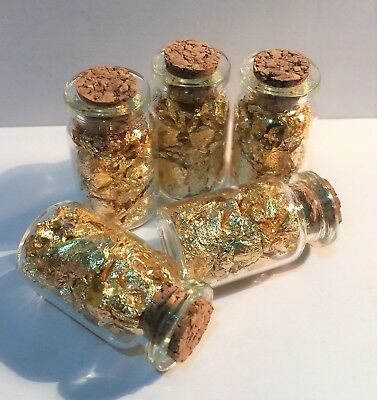 40 mm Tall Bottle of Gold Flake/Leaf, Scrap Booking, Nail Art, Display or Gift