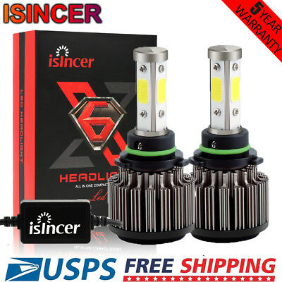 2x 9006 HB4 4 Sides LED Headlight Kit 1200W 128000LM High Powers 6000K White HID
