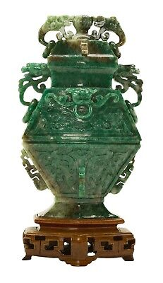 Chinese Archaic Style Emerald Green Jade Vase