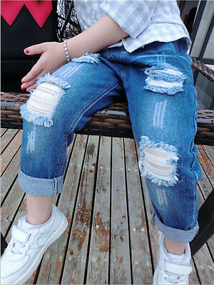 Toddler Boys Girls Jeans Pants Casual Baby Faded Ripped Denim Trousers 7 Month-6
