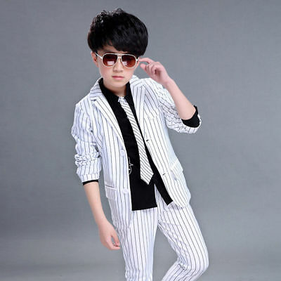 Kids Boys Trousers Formal Party Wedding Page Boy Set Stripes Blazer Suits Jacket
