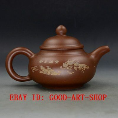 Chinese Yixing Zisha Hand Carved Painting Fishs Teapot Made By Zhou Zhichen G7