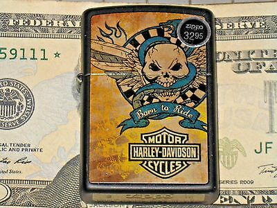 A New USA Windproof Zippo Lighter Harley Davidson Motor Cycle Snake Born to Ride