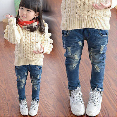 Toddler Kids Baby Girls Boys Ripped Denim Skinny Jeans Stretchy Pants TrousersUK