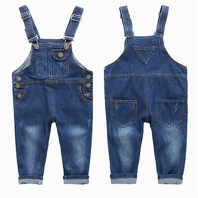 Little Boys Girls Bib Jeans Kids Denim Overalls Dungarees Long Romper Pant 2-6T