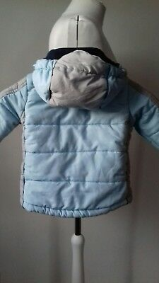 Boys 12 -18 mths Euro 74/80  Blue Coat with Hood Fleece Lined Made in Italy