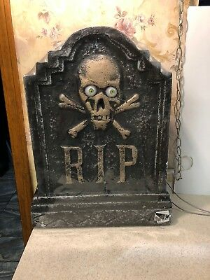 "New Foam Halloween 22 1/2"" RIP Grave Tombstone Skeleton Lighted Eyes Kit"