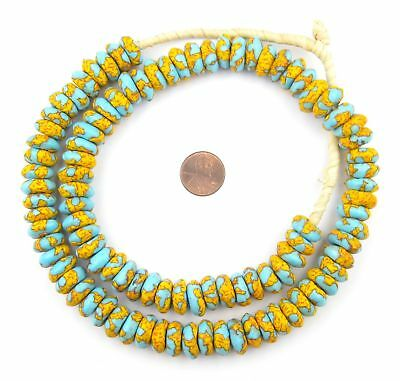 Fire and Water Fused Rondelle Glass Beads 15mm Ghana African Multicolor Disk