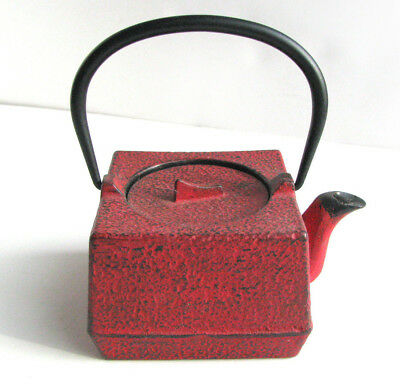 Vintage Japanese Tetsubin Red Cast Iron Tea Pot  Signed