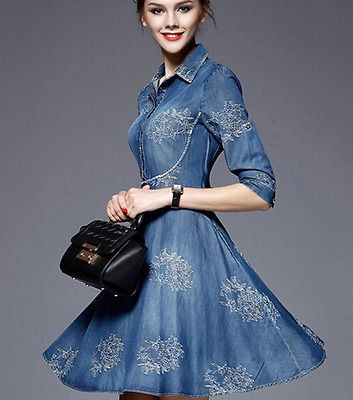 Women's High End 3/4 Sleeves Floral Print Slim New Denim Embroidery Party Dress