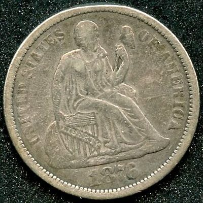 1876 T2 Rev (Vf) 10C Silver Seated Liberty Dime