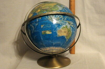 AWESOME VINTAGE RAISED RELIEF RAND McNALLY WORLD PORTRAIT GLOBE
