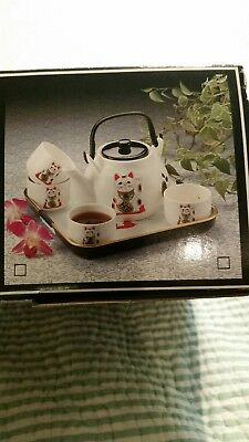 Teeservice Lucky Japanese Cat Asian Tea Set Teapot with tray - New