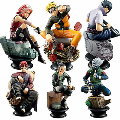 6pcs Naruto/Kakashi/Sasuke/Gaara/Sakura/Shikamaru Chess Figures Anime Toy Sets H