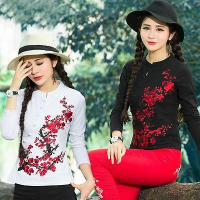 Womens Plum T-Shirts Blouse Chinese Style Embroidered Long Sleeve Cotton Tops Sz