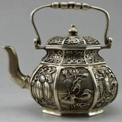 Old Tibet Silver Collectible Decorated Carved Flower Bird Fish Fruit TeaPot