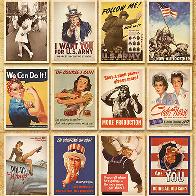 32pcs Vintage Retro Posters Second World War Postcard Wall Decorations Cards Set
