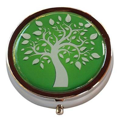 Tree of Life Three Section Pocket/Purse/Travel Medicine Small Pill Box Case