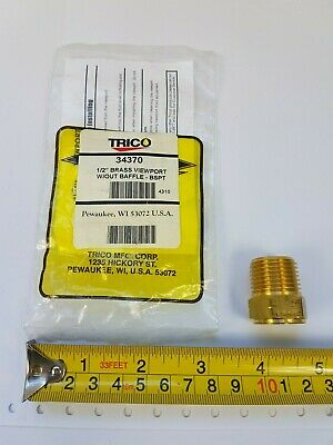 Trico 34370 1/2-inch Brass Viewport with glass without baffle BPST - New
