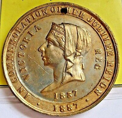 1887 Gilt Medal, Queen Victoria 50Th Anniversary...beautiful Design Front & Back