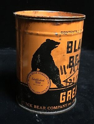 Black Bear Company Tin Can Water Pump Grease Early Antique Old Vintage Original