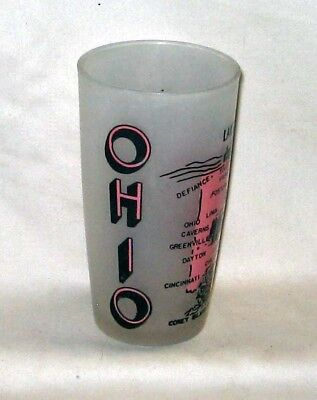 #14 Vintage Hazel Atlas Frosted Ohio Lake Erie The Buckeye State Souvenir Glass