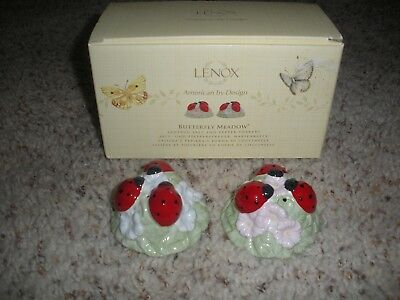 LENOX Butterfly Meadow Ladybug Salt and Pepper Shakers NIB