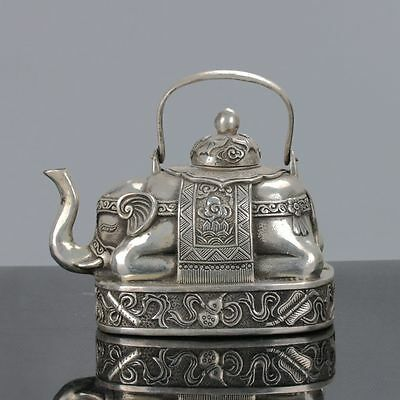 Collectible Chinese Silver Copper Handwork Elephant-Shape Teapots