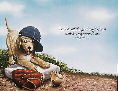 Scripture Art Print-Bible Verse-Philippians 4:13-Baseball Puppy-Personalized