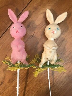 Vintage Felt Chenille Plastic Yellow & Pink Easter Bunnies w/ Fowers On Wire